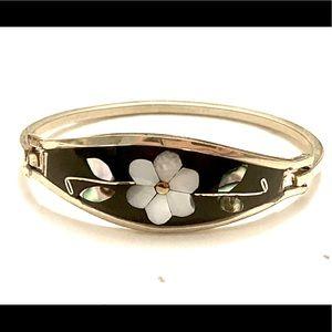 Inlaid abalone bracelet floral silver vintage